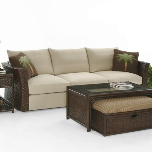 Vendor 10 Grand Water Point Stationary Sofa With Rattan Arms