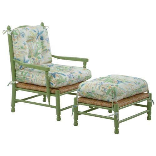 Vendor 10 Accent Chairs Coastal Style Vineyard Accent Chair and Ottoman Set