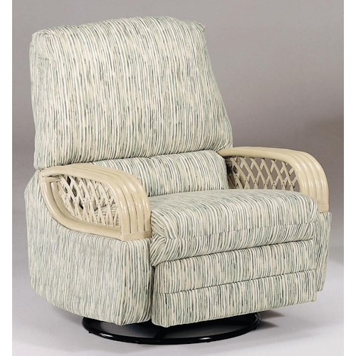 Vendor 10 BC990 Seivel Rocker Recliner with Rattan Arms