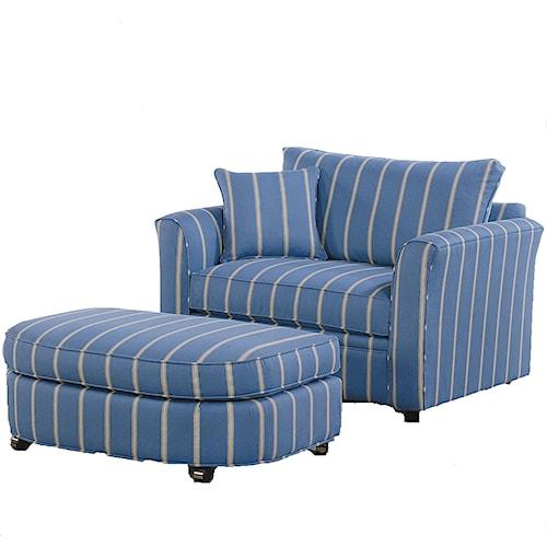 Vendor 10 Bridgeport Casual Sleeper Chair and Wheeled Ottoman Set
