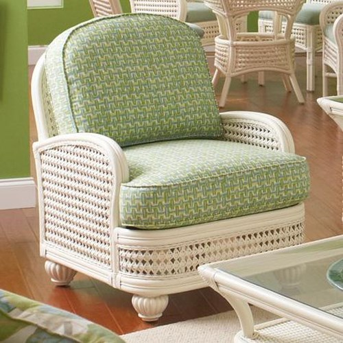 Vendor 10 Captiva  Tropical Wicker Chair with Upholstered Seat and Turned Bun Feet