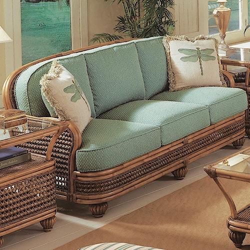 Vendor 10 Captiva  Tropical Wicker Sofa with Turned Bun Feet