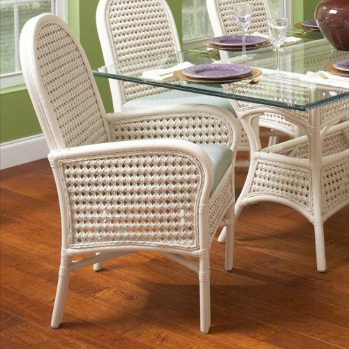 Vendor 10 Captiva  Tropical Wicker Arm Chair with Upholstered Seat
