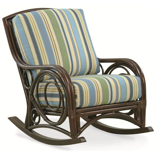 Vendor 10 Cotton House 919 Rattan Wicker Rocking Chair with Upholstered Seat and Back