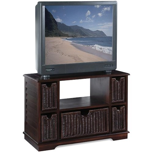 Vendor 10 East Bay  Television Console w/ 5 Wicker Drawers