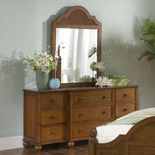 Vendor 10 Palmetto Place Tropical Dresser and Mirror with Nine Drawers and Wood Slat Detailing