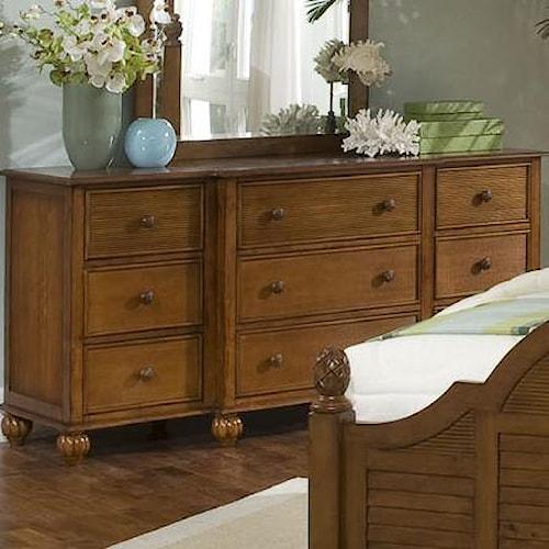 Vendor 10 Palmetto Place Tropical Nine Drawer Dresser with Turned Bun Feet