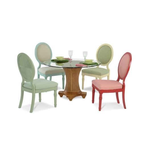 Vendor 10 Sawgrass Tropical Five Piece Dining Set with Beveled Glass Table