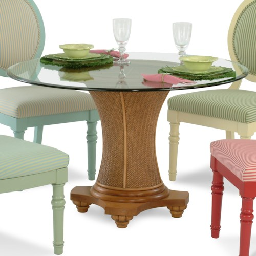 Vendor 10 Sawgrass Tropical Round Glass Table with Wicker Pedestal