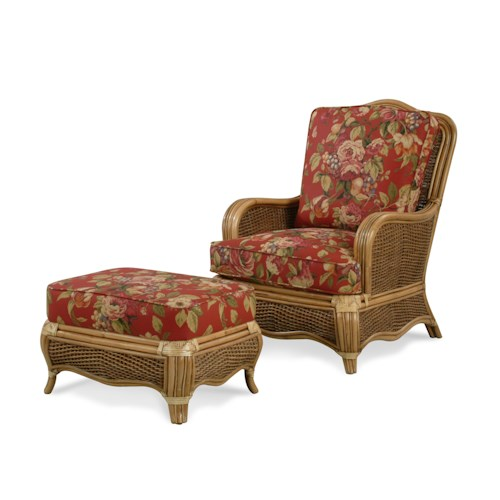 Vendor 10 Shorewood Tropical Rattan Chair and Ottoman Set