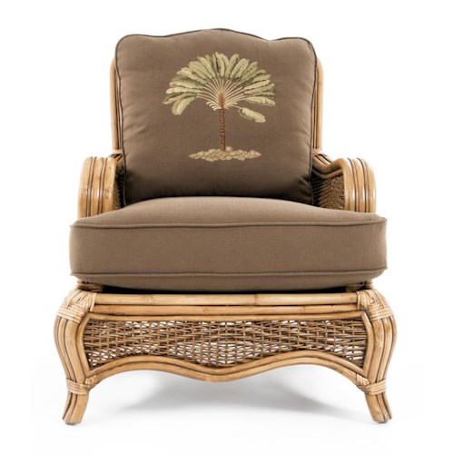 Braxton Culler Shorewood Tropical Rattan Chair with English Arms