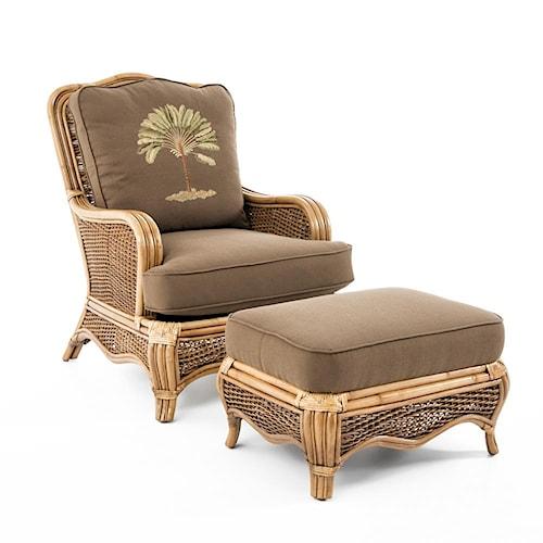 Braxton Culler Shorewood Tropical Rattan Chair and Ottoman Set