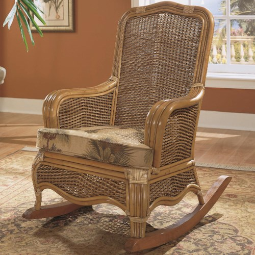 Vendor 10 Shorewood Tropical Rattan Rocking Chair with Loose Seat Cushion