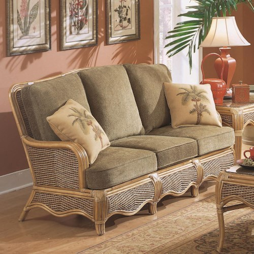 Vendor 10 Shorewood Tropical Rattan Three Seater Sofa with Serpentine Mouldings
