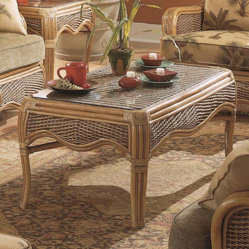 Vendor 10 Shorewood Tropical Rattan Coffee Table with Flared Legs