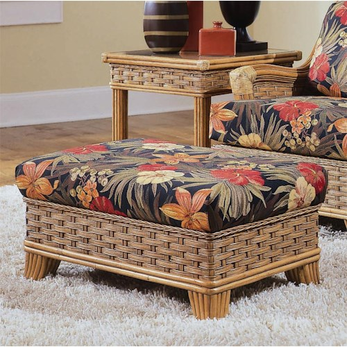 Vendor 10 953 Ottoman with Exposed Wood