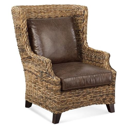 Vendor 10 Sydney Wicker Wing Chair w/ Leather Seat