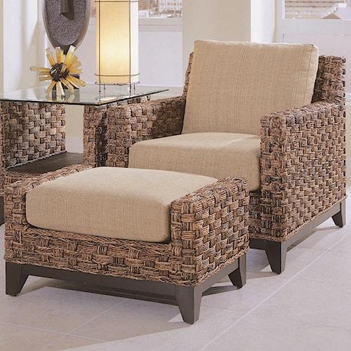 Braxton Culler Tribeca 2960 Modern Wicker Chair and Rectangular Ottoman