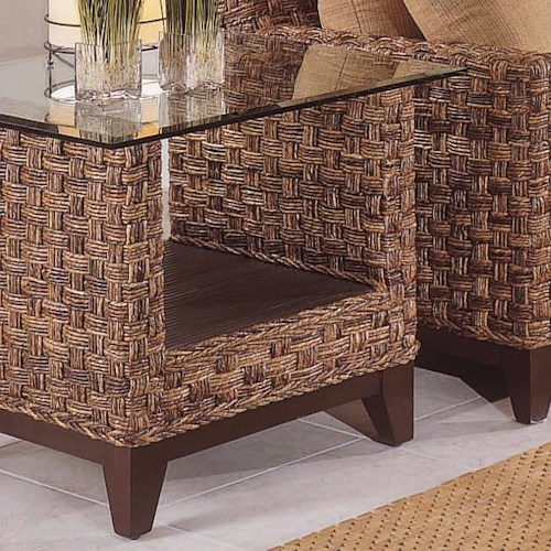 Vendor 10 Tribeca 2960 Contemporary Wicker End Table with Glass Top