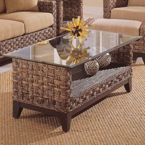 Braxton Culler Tribeca 2960 Contemporary Wicker Cocktail Table with Glass Top