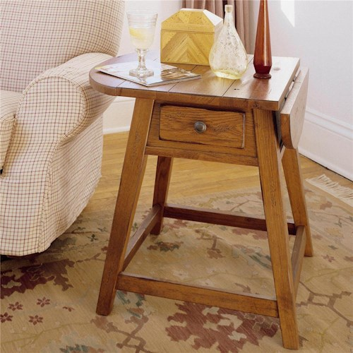 Broyhill Furniture Attic Heirlooms Splay Leg End Table with 1 Drawer and Drop Leaf Top