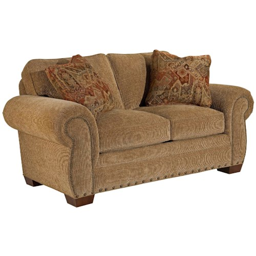 Broyhill Express Cambridge Transitional Loveseat with Nail Head Trim