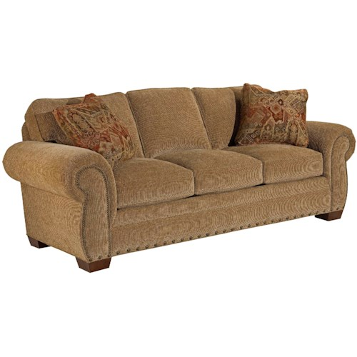 Broyhill Express Cambridge Quick Ship Transitional Stationary Sofa with Nail Head Trim