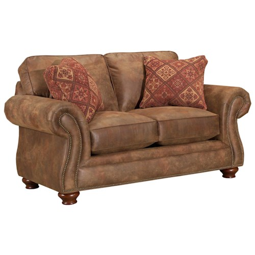Broyhill Express Laramie Quick Ship Loveseat with Nailhead Trim