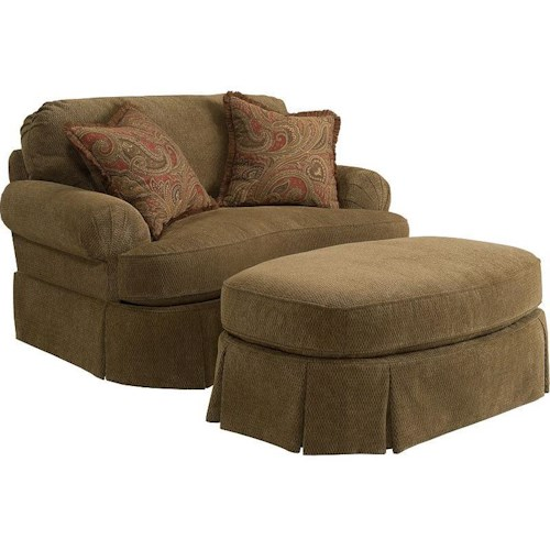 Broyhill Express McKinney Traditional Chair and 1/2 and Ottoman with Pleated Skirts