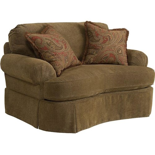 Broyhill Express McKinney Traditional Chair & 1/2 with Curved Front and Pleated Skirt