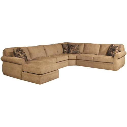 Broyhill Express Veronica Quick Ship Transitional Sectional Sofa Group with Wedge and Left Chaise