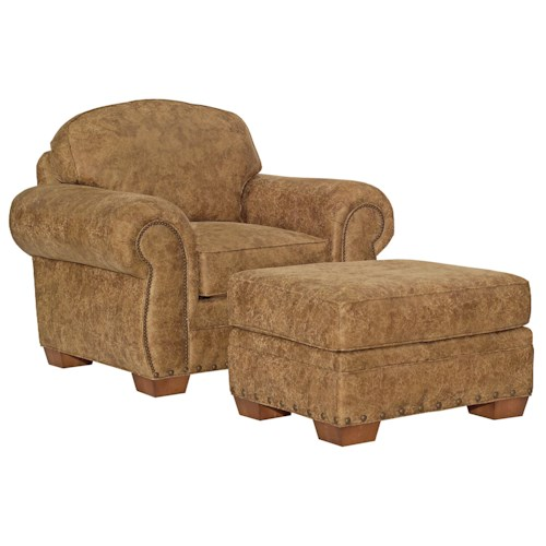 Broyhill Furniture Cambridge Casual Style Chair and Ottoman with Nail Head Trim