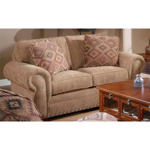 Broyhill Furniture Cambridge Casual Style Loveseat with Nail Head Trim