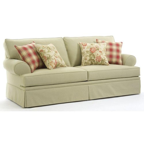 Broyhill Furniture Emily Casual Style Sofa with Rolled Arms and Skirt Covered Base