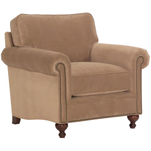 Broyhill Furniture Harrison Traditional Style Chair with Exposed Wood Feet