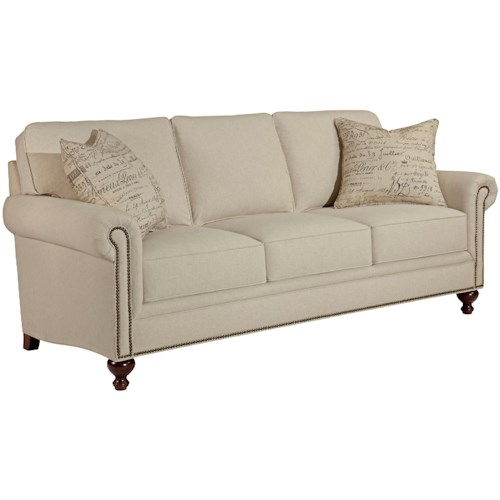 Broyhill Furniture Harrison Traditional Style Sofa with Exposed Wood Feet