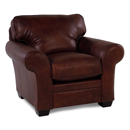 Broyhill Furniture Zachary Leather Upholstered Chair w/ Roll Arm