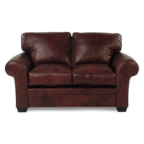 Broyhill Furniture Zephyr Leather Roll-Arm Loveseat