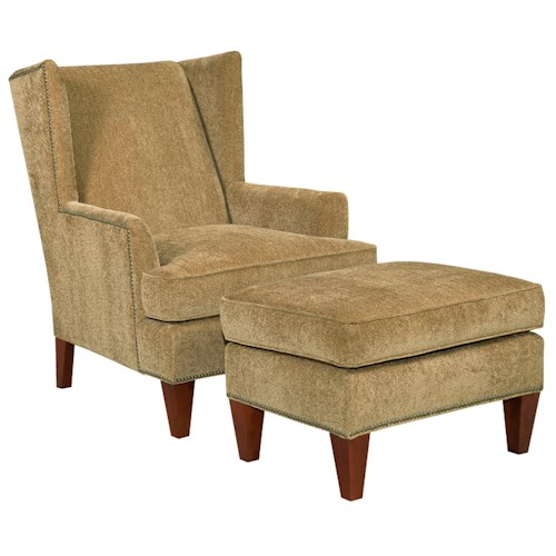 Broyhill Furniture Accent Chairs and Ottomans  Lauren Contemporary Wing Chair and Ottoman with Brass Nail Head