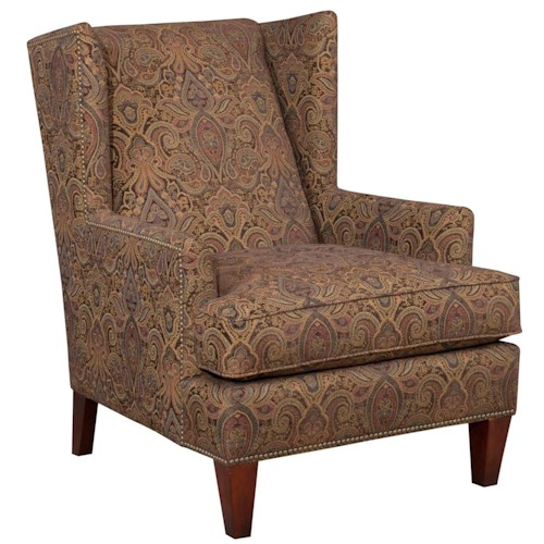 Broyhill Furniture Accent Chairs and Ottomans  Lauren Chair Contemporary Wing Chair with Brass Nail Head Trim
