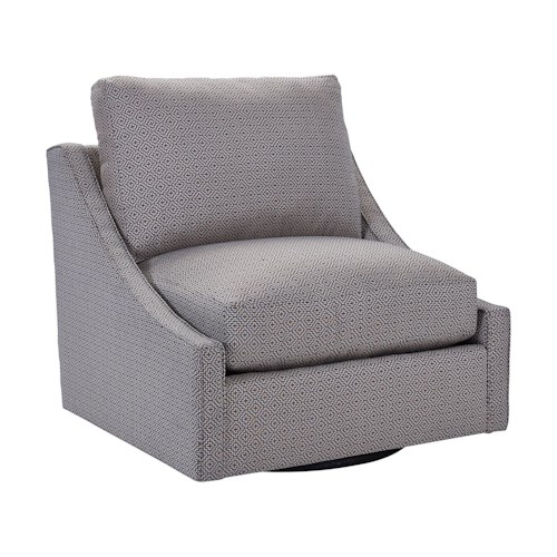 Broyhill Furniture Aldrin Contemporary Swivel Chair & 1/2 with Narrow Sloped Arms