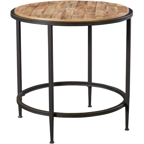 Broyhill Furniture Ariana Round Lamp Table with Repurposed Top