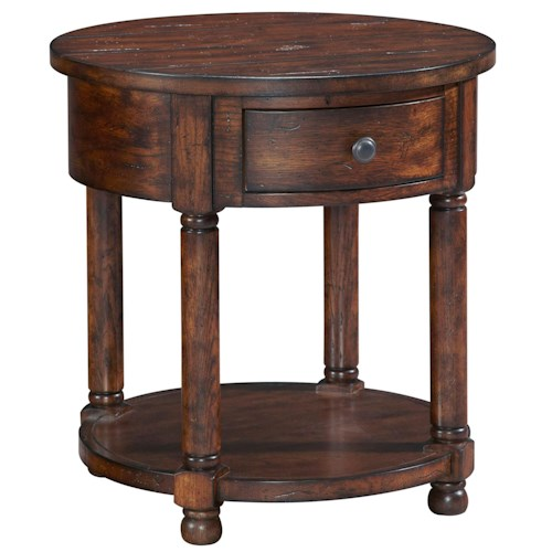 Broyhill Furniture Attic Rustic Round End Table with Shelf