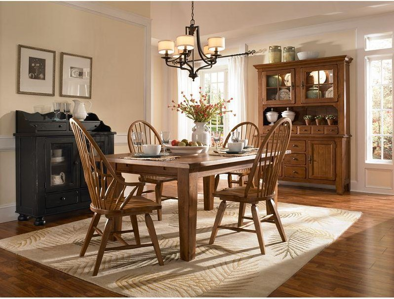Shown with Rectangular Leg Table, Windsor Arm Chairs and Buffet/Hutch