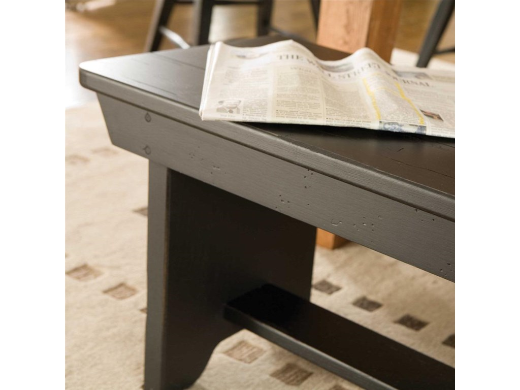 Detail of Antique Black Finish on Bench.