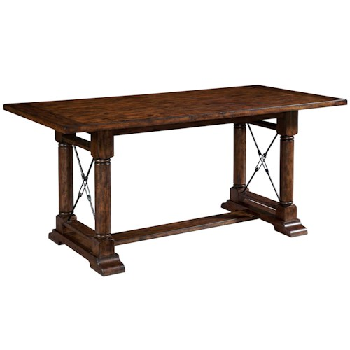 Broyhill Furniture Attic Heirlooms Counter Height Trestle Table with 2 Leaves