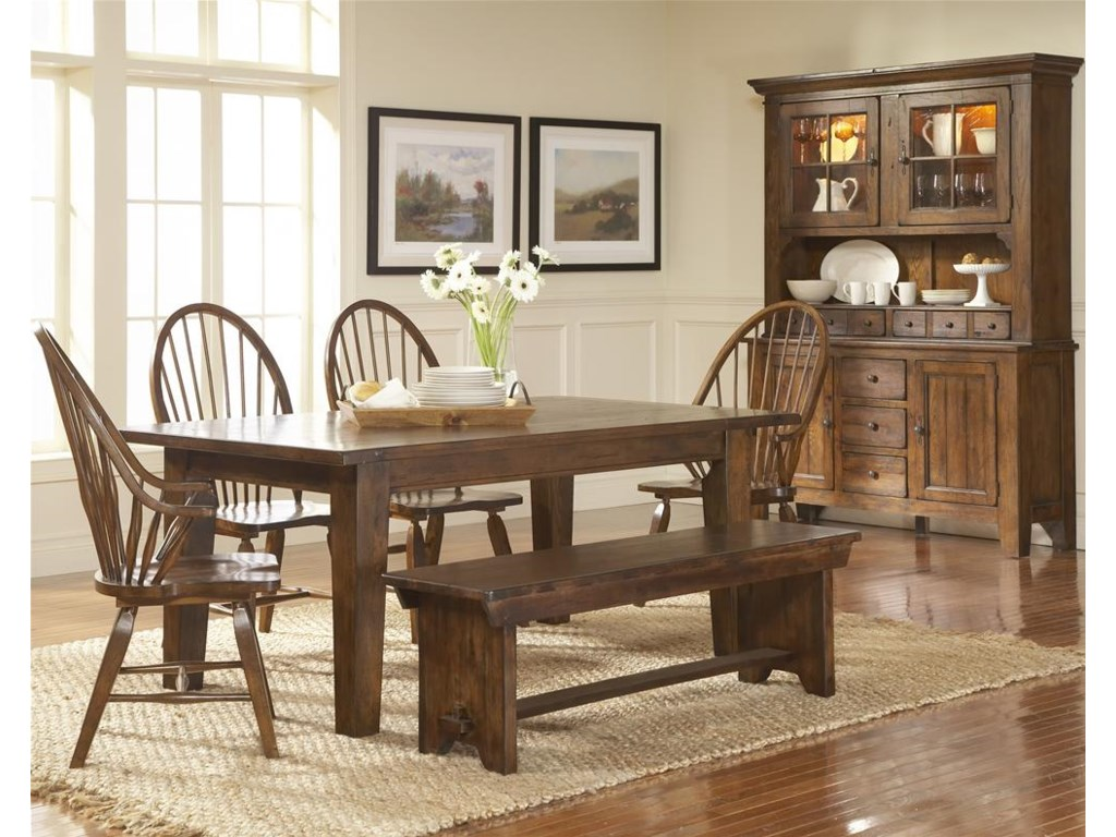 Shown With China Hutch, With Windsor Arm Chairs and Chairs, Bench, and Leg Dining Table