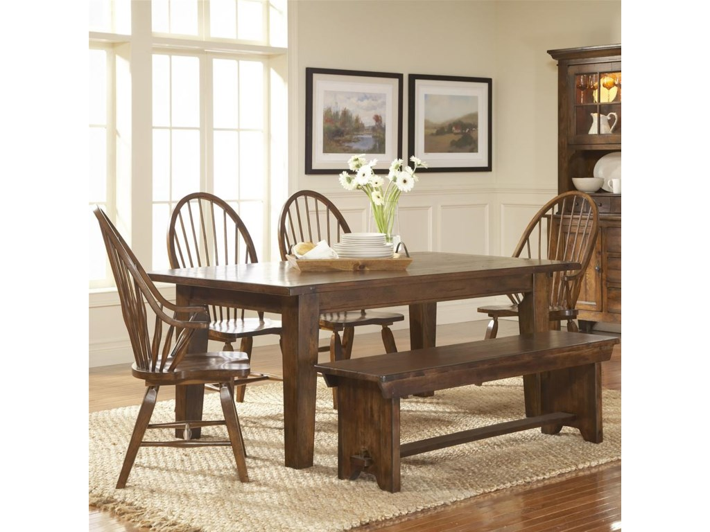 Shown With Windsor Arm Chairs, Bench, and Leg Dining Table