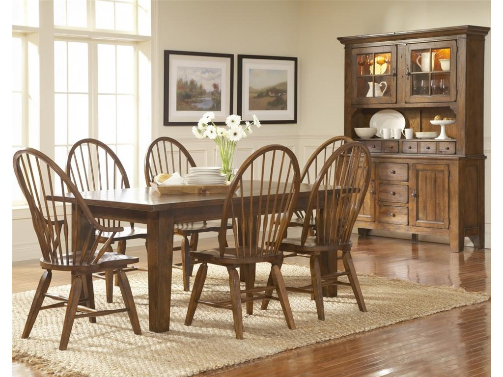 Shown With Windsor Arm Chairs, Leg Dining Table, and China Base With Deck