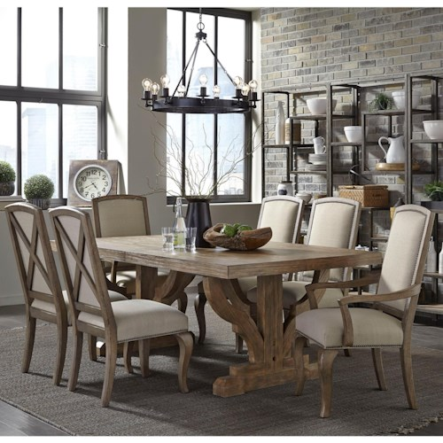 Broyhill Furniture Bedford Avenue 7 Piece Double Pedestal Table and Upholstered Chair Set